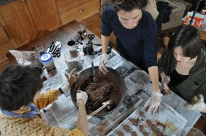 Monika Maeckle, Annie Schenzel, Shelley Ericson make seedballs