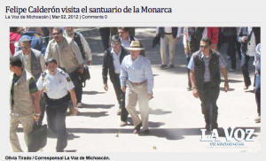 Mexican President Felipe Calderon visits the Monarch butterfly sanctuaries in Michoacan