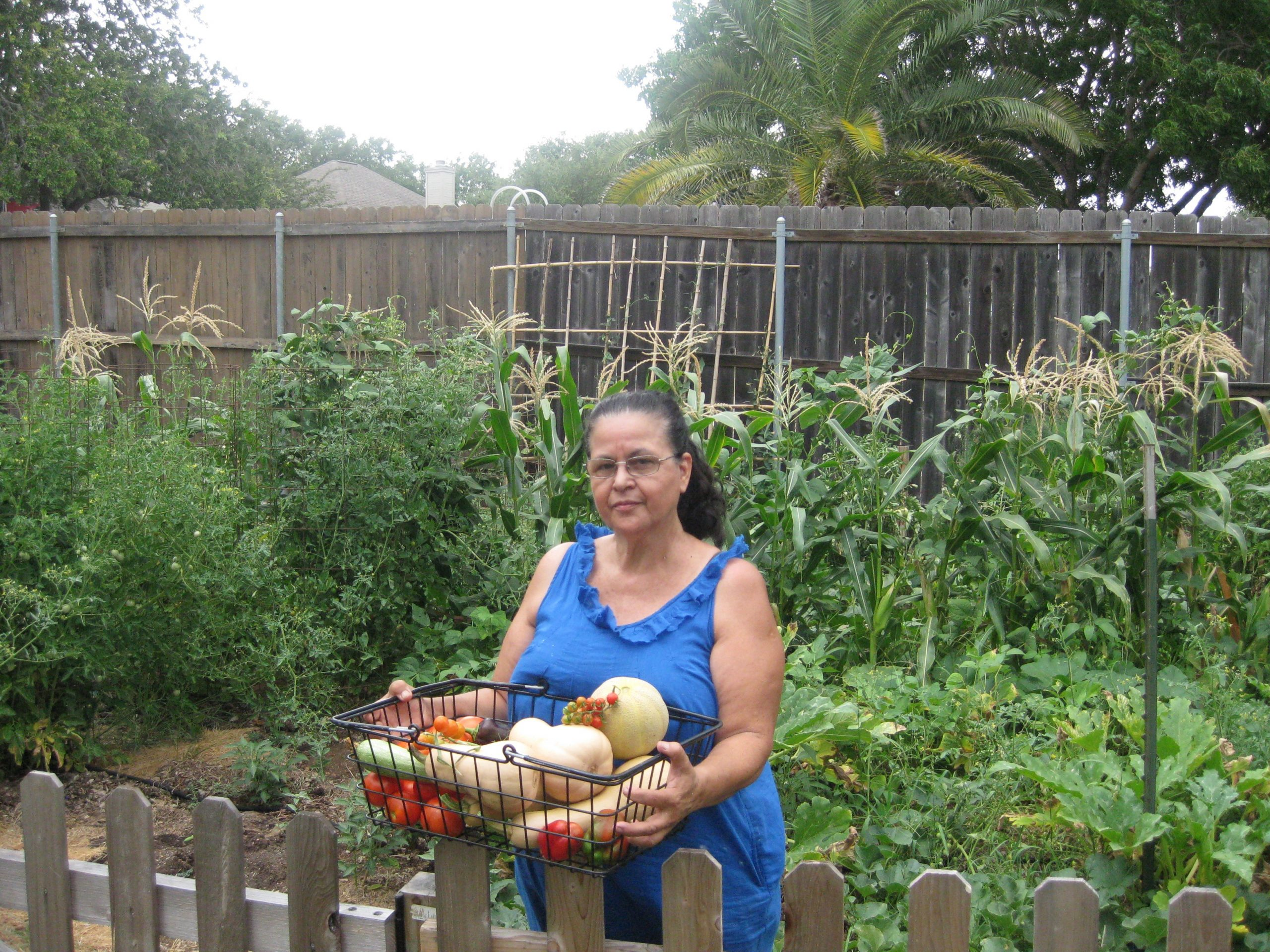 Catalina Trail in her South Austin vegetable garden