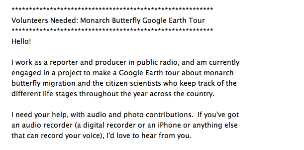 Ari Daniel Shapiro's Email soliciting volunteers to help with Monarch Butterfly Google Earth Tour, November, 2012