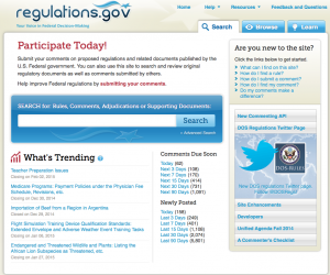 Government regulation comment page