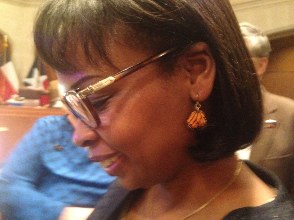 Mayor Ivy Taylor's Monarch butterfly wing bling