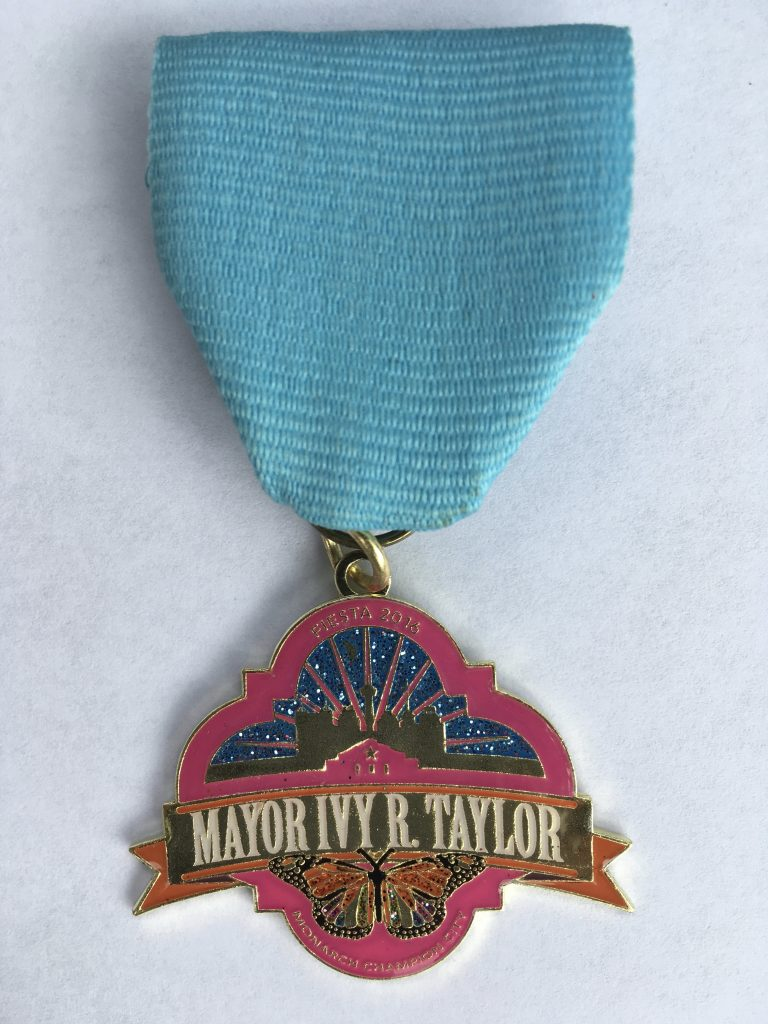 Mayor Ivy Taylor's Monarch Champion medal