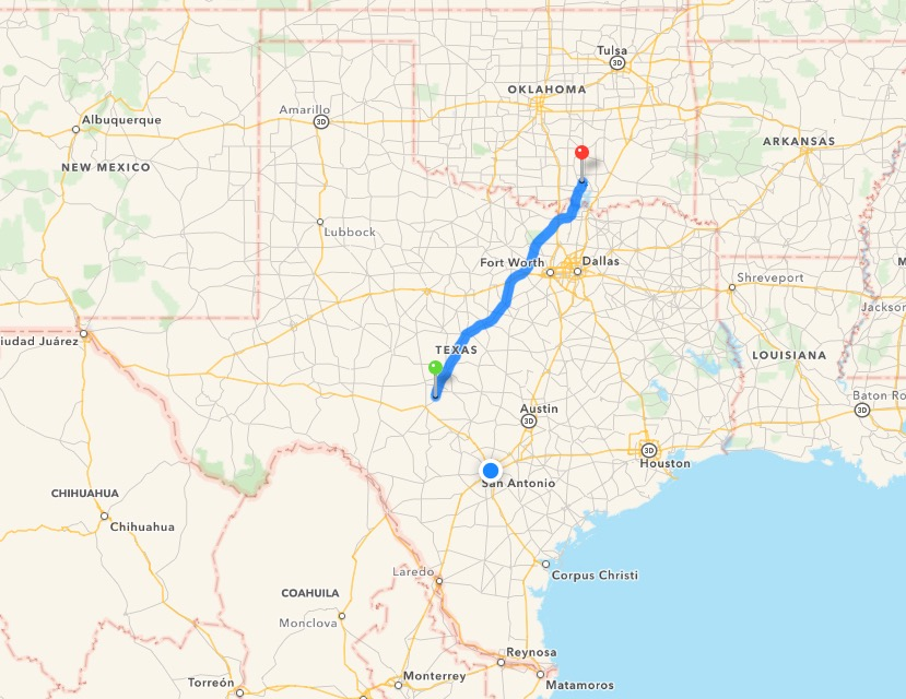 WMX658 flew about 350 miles since September 22, arriving along the Llano River on October 1. Graphic via Google
