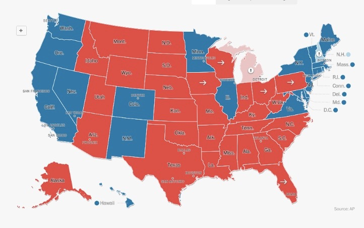 Every state along the Monarch butterfly highway IH35 corridor went for Trump except for Minnesota. Courtesy graphic