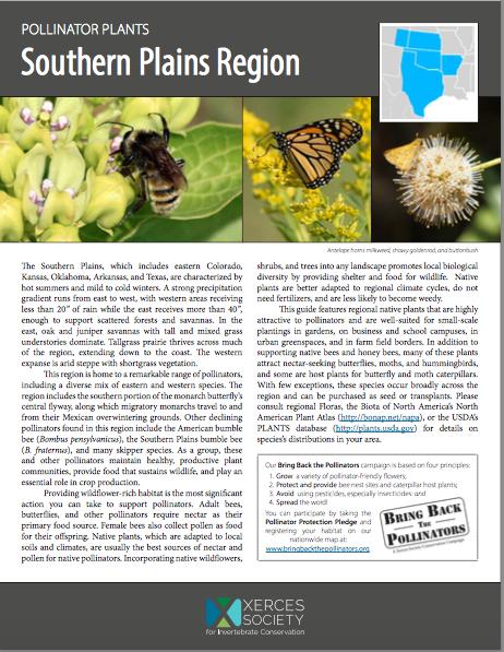 Pollinator Plants Southern Plains Region